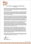 Science 20 Statement to G20 Leaders on the COVID-19 Pandemic (2020)